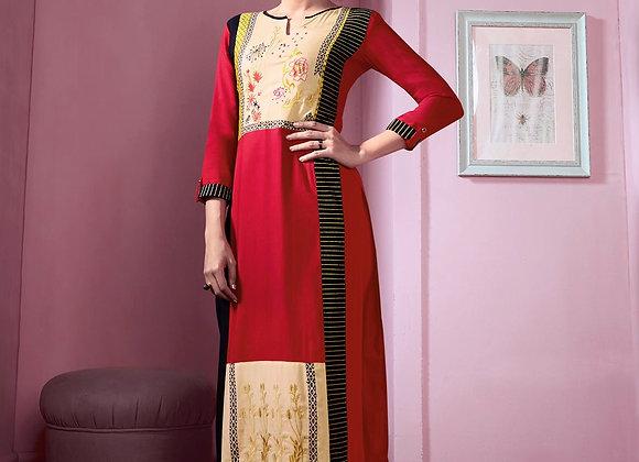 Red and Cream Rayon cotton Kurti