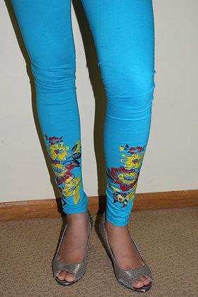 Sky Blue Churidar lycra soft leggings(M/L)