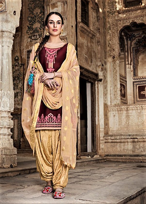 Dark Brown embroidered shirt and printed salwar