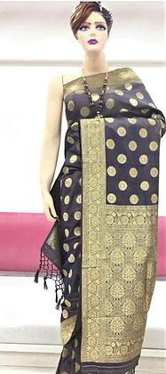 Gray and Copper soft silk Banarasi inspired Sari