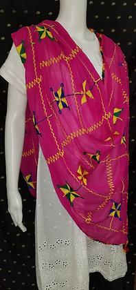Pink Chiffon Embroider Dupatta
