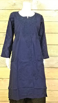 Navy Cotton Kurti w/ Embroidery