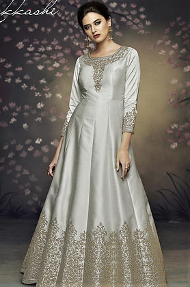 Gray Indo-western Gown w/ Embroidery