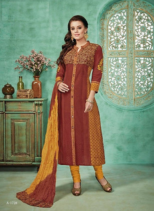 BROWN & YELLOW EMBROIDERED SILK CHURIDAAR ( L )