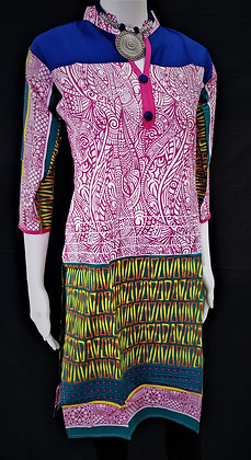Pink and Yellow printed kurti