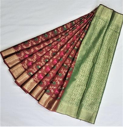 Art Silk Saree Brown with Green with gold jari patterns
