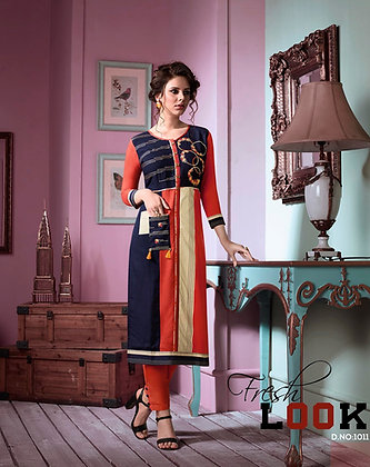 Orange and dark blue Rayon Cotton Kurti