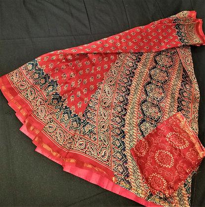Ajrakh print RedBlue chanderi handloom saree