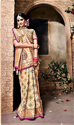 Cream Gold Banarasi Silk saree