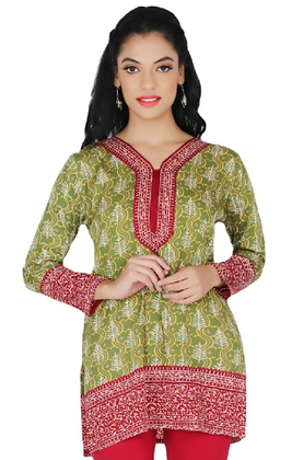 Mehndi Green crepe full sleeve short kurti