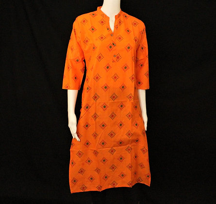 Orange cotton long Kurti 3/4 sleeve