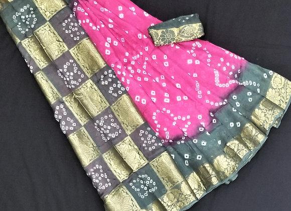 Pink and Gray Crepe Silk bandani inspired