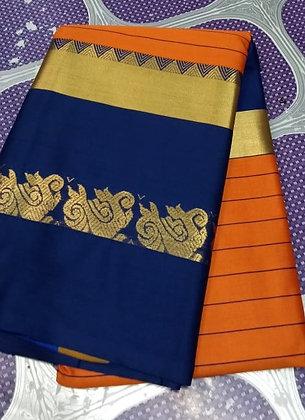 Blue and Mustard Cotton Silk Saree