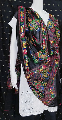 Cotton embroidered dupatta in Black