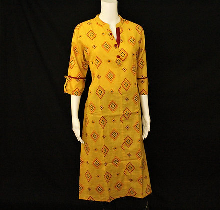 Bright Yellow cotton kurti w/ 3/4 sleeve