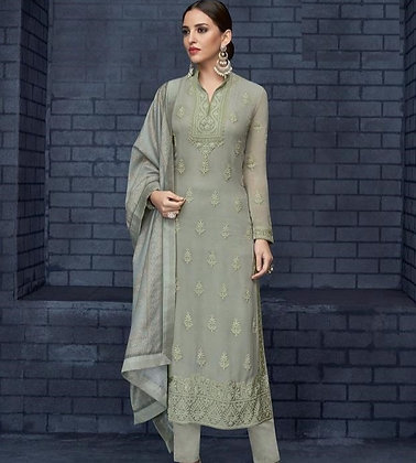 Embroidered Lakhnavi Straight Suit (M/L)