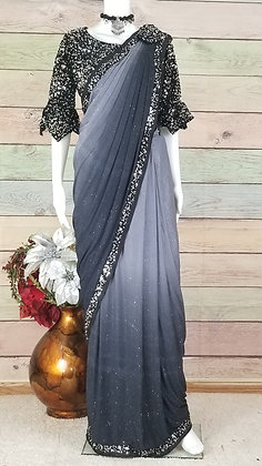 Black and silver saree- Stitched ready to wear