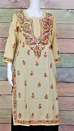 Beige Cotton Kurti w/ Embroidery