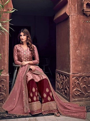 Fawn and Maroon embroidered Pallazo Suit(S)