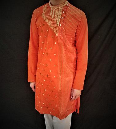 Red Cotton Kurta w/ Embroidery