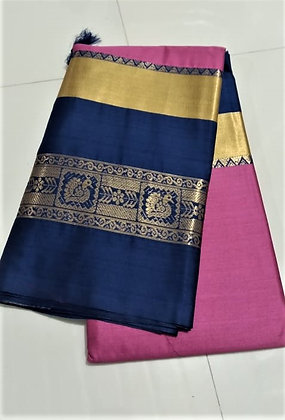 Pink and Blue Cotton Silk Saree