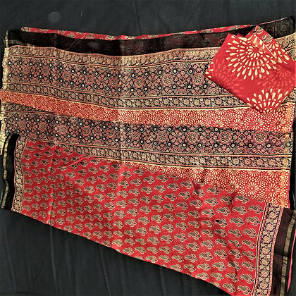 Ajrakh print Rust Red chanderi handloom saree