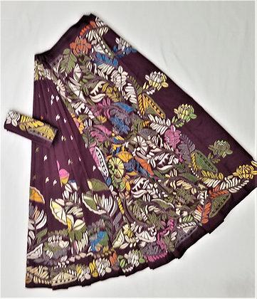 Berry Purple Banglori Silk Full embroidery Kantha work