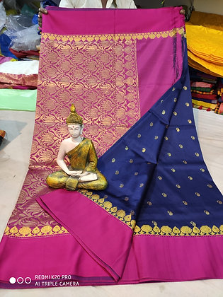 Pink and Dark Blue Semi-silk Sari