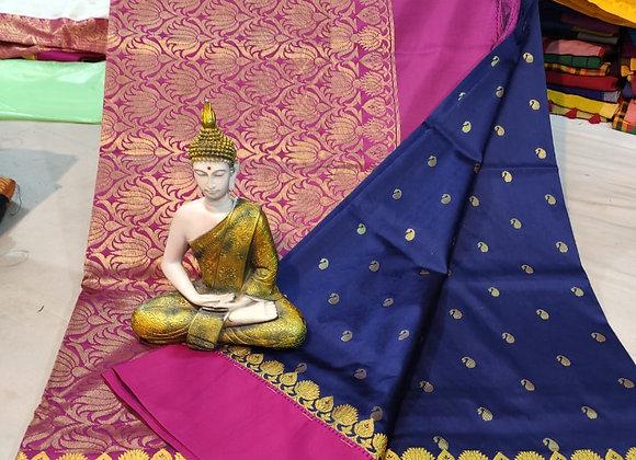 Pink and Dark Blue Semi-silk Sari