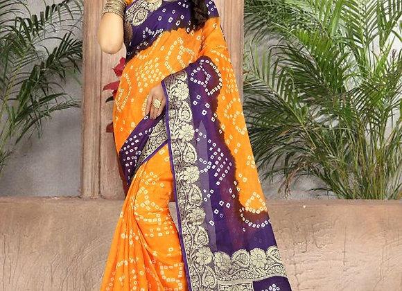 Yellow printed crepe silk sari