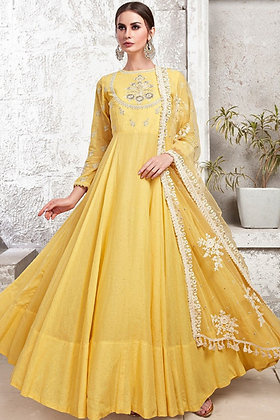 Yellow Gown - Crepe Silk