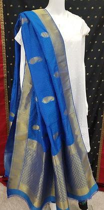 Blue Silk Embroider Dupatta