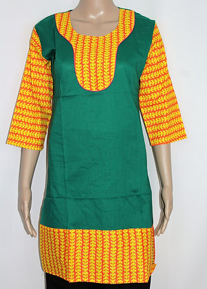 GREEN & YELLOW COTTON PRINTED KURTI TUNIC (XS)