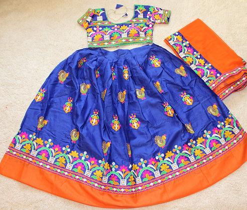 Bright Blue Orange Raas Garba Chaniya Choli Lehnga M/L