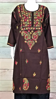 Brown Cotton Kurti w/ Embroidery