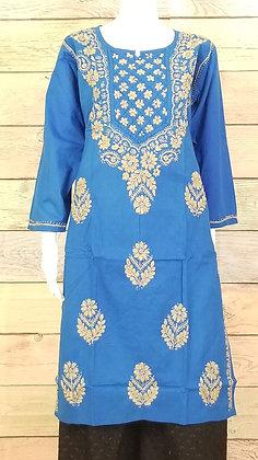 Turquoise Cotton Kurti w/ Embroidery