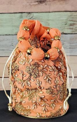 Peach Embroidered Potli Bag