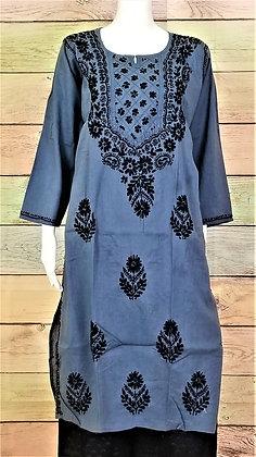Grey Cotton Kurti w/ Embroidery