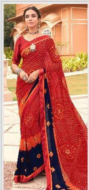 Georgete Sari Red and Black