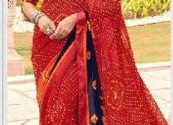 Georgete Sari Red and Black