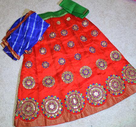 Tomato Red Gujarati Lacha Chaniya Choli for Garba Dandiya(M/L)
