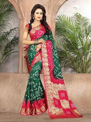 Red and Green crepe silk sari