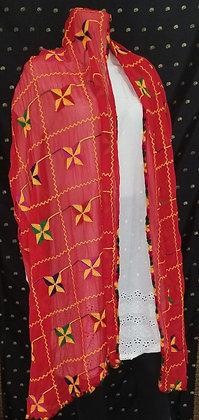 Red Chiffon Embroider Dupatta