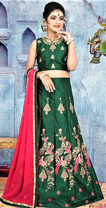 Dark Green Child Lehnga Choli