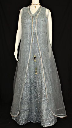 Gray Indo-western Gown w/ Jacket shaped cover