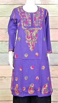 Purple Cotton Kurti w/ Embroidery