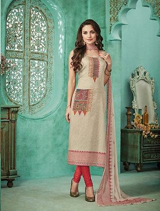 Offwhite Raw Silk Churidar Salwar Kameez (XL)