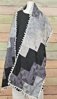 Black, White and Gray Phulkari Dupatta