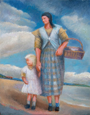 Mother and child on the seashore 17x25cm