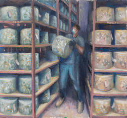 Turning the cheeses, Manor Farm